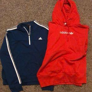 Two female adidas sweatshirts